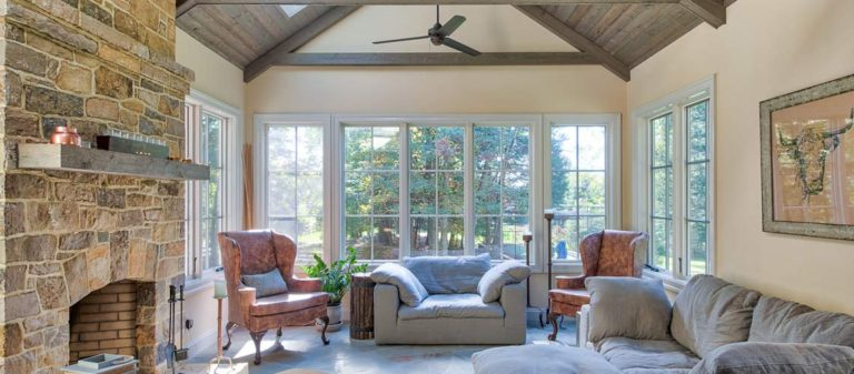 A stunning addition with large bay window and fireplace