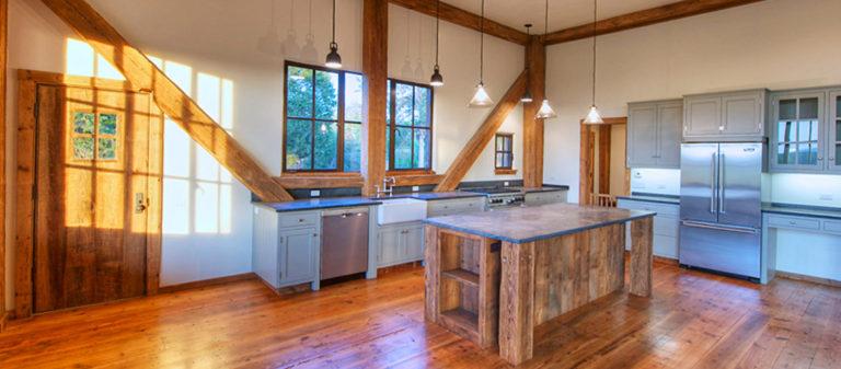 The modern kitchen in a restored Civil War barn